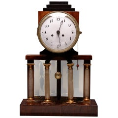 Austrian Biedermeier Clock, Alabaster Columns, Chimes
