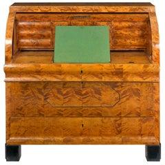 Austrian Biedermeier Figured-Maple Roll-Top Antique Writing Desk circa 1830-1850