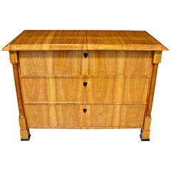 Austrian Biedermeier Fruitwood Three-Drawer Chest with Columnar Details