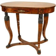 Austrian Biedermeier Walnut Oval Center Table