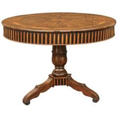 Austrian Biedermeier Pedestal Table of Burl Walnut with Radiating Veneer