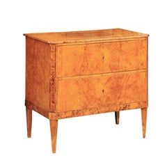 Austrian Biedermeier Period 1820s Burled Walnut Commode with Cross-Banded Motifs