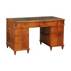 Austrian Biedermeier Period 1825 Walnut Kneehole Desk with Leather Inset