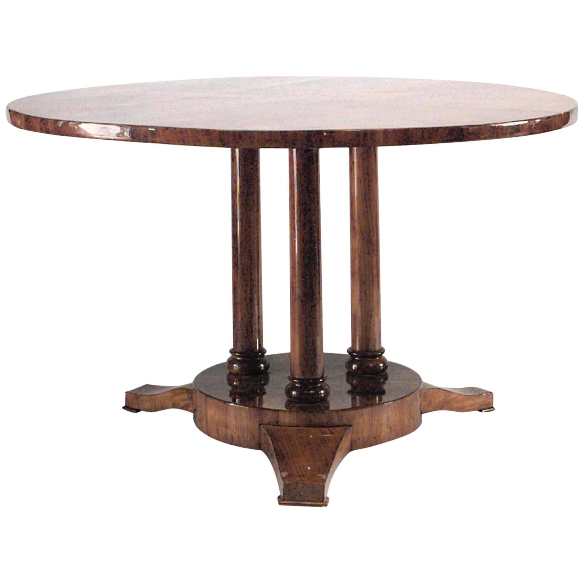 Austrian Biedermeier Round Walnut Tilt-Top Centre Table