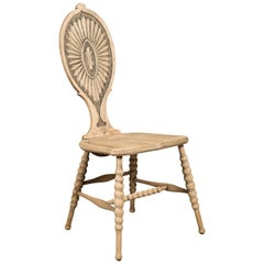 Austrian Biedermeier Style 1880s Bleached Chair with Bobbin Legs and Carved Back