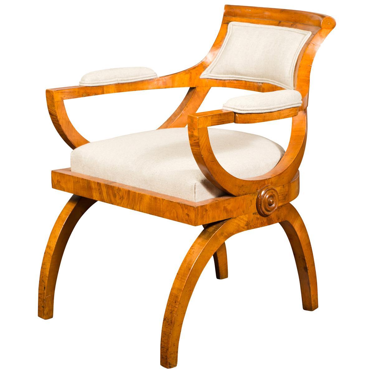 Austrian Biedermeier Style Walnut Armchair with New Upholstery, circa 1870
