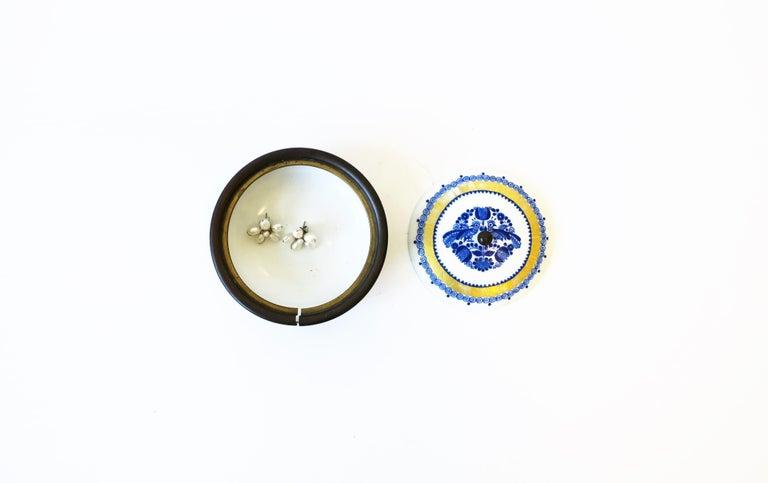 Enameled Austrian Blue White and Gold Porcelain Enamel Box For Sale