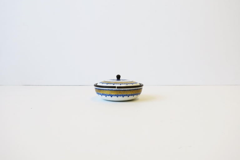 20th Century Austrian Blue White and Gold Porcelain Enamel Box For Sale