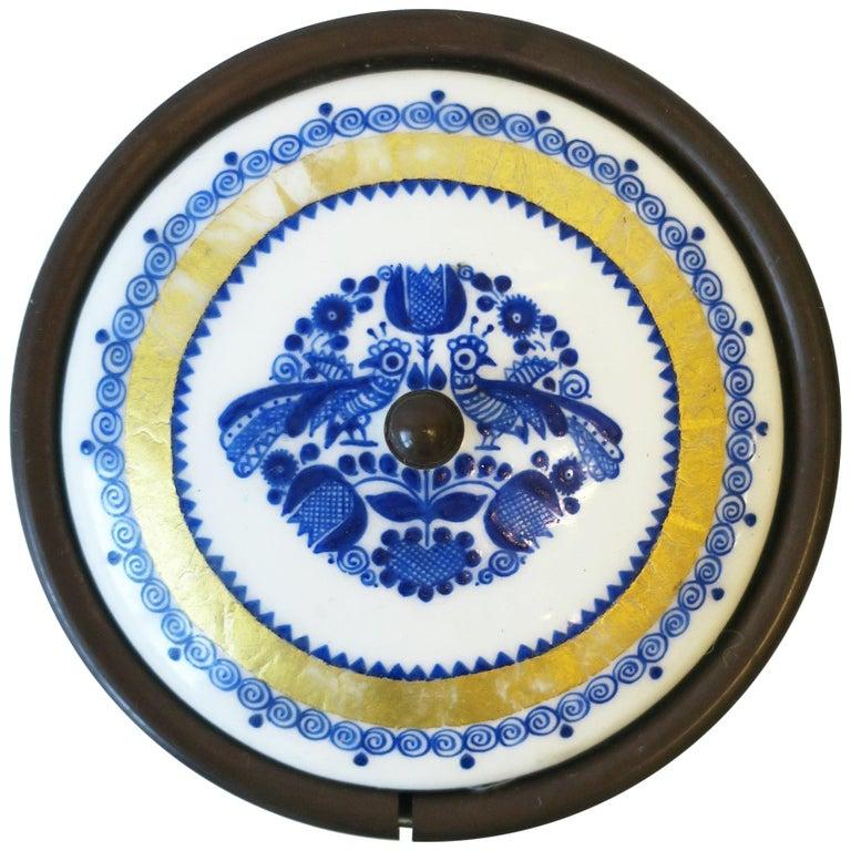 Austrian Blue White and Gold Porcelain Enamel Box For Sale