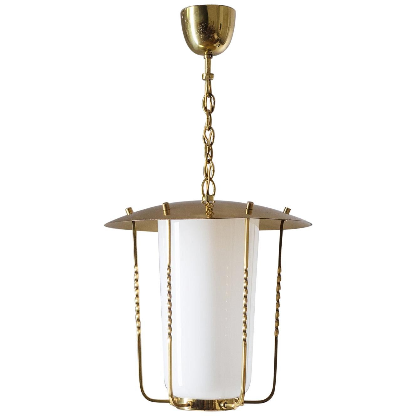 Austrian Brass and Glass Lantern, circa 1950