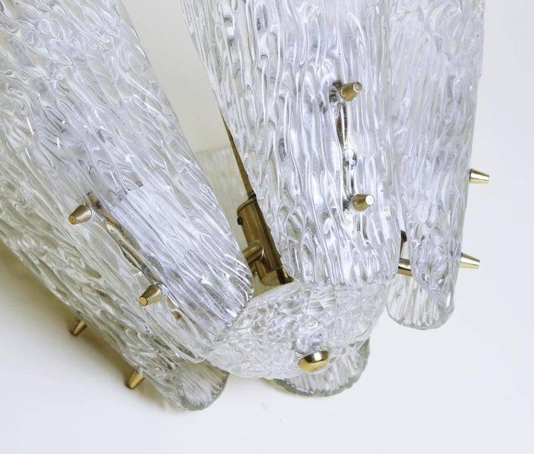 Mid-Century Modern Austrian Brass and Textured Glass Chandelier by J.T. Kalmar for Kalmar, 1950s For Sale