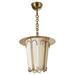 Austrian Brass Ceiling Light, 1940s, J.T. Kalmar