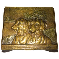Austrian Bronze Box, 2 Embossed Dachshunds on Lid, circa 1900