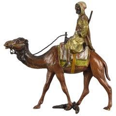 "Austrian Bronze ""Camel with Arab Warrior"" by Bergman"