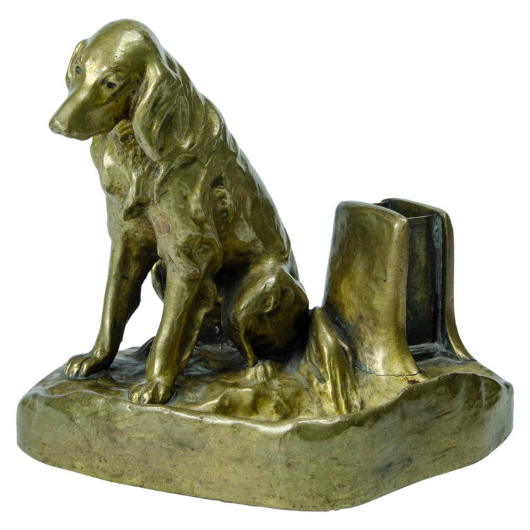 Austrian Bronze Dog 'ashtray and phosphor' For Sale