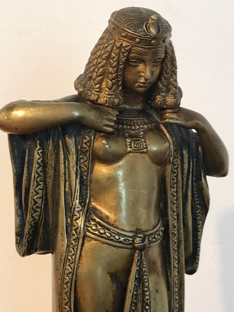 Art Deco Austrian Bronze Egyptian Bather, Attributed to Bergman For Sale