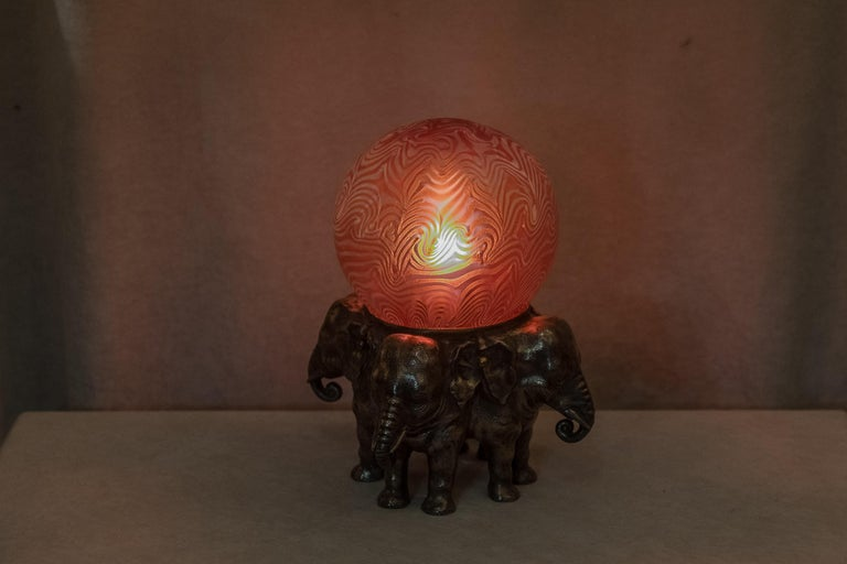 Austrian Bronze Elephant Lamp with Art Glass Shade In Good Condition For Sale In San Francisco, CA