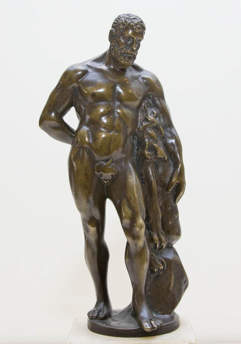 Austrian bronze figure after the Farnese Hercules. Signed C. Brehmer. On a marble base. Appears to have been presented as an award. Plaque reads