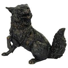 Austrian Bronze Fox Inkwell, C. 1890