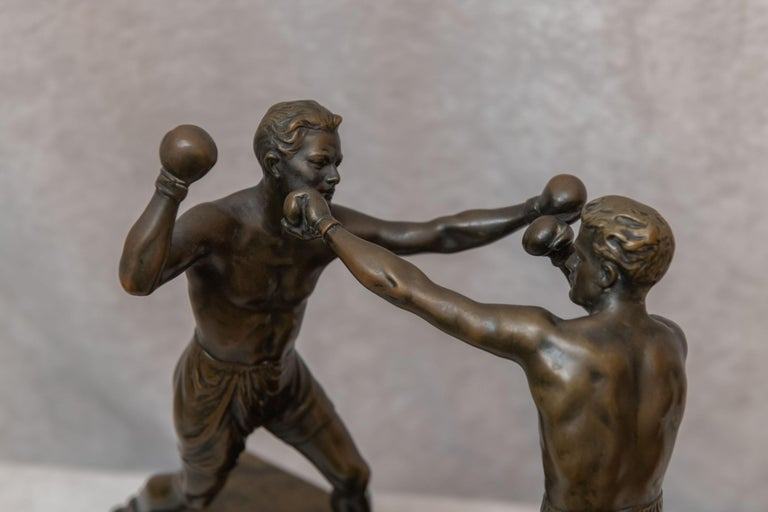 Hand-Crafted Austrian Bronze Group, 2 Men Boxing, Artist Signed Thuss, circa 1920s For Sale