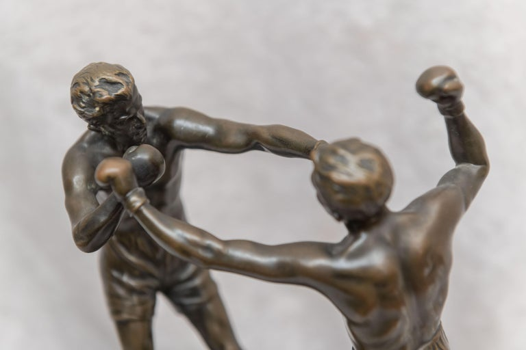 Early 20th Century Austrian Bronze Group, 2 Men Boxing, Artist Signed Thuss, circa 1920s For Sale
