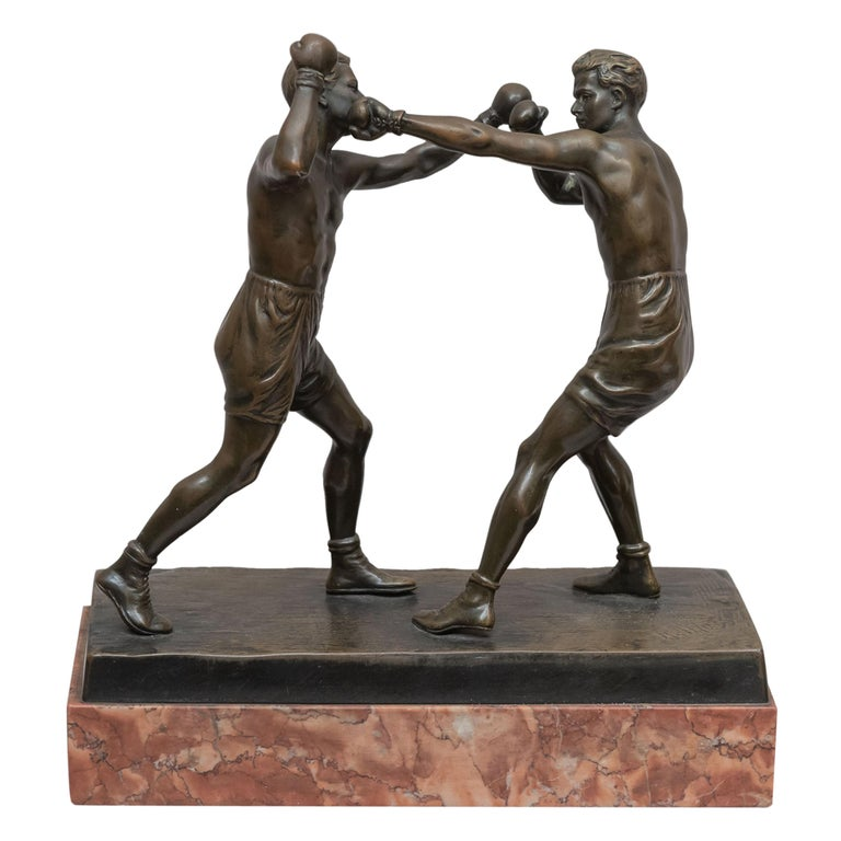 Austrian Bronze Group, 2 Men Boxing, Artist Signed Thuss, circa 1920s For Sale