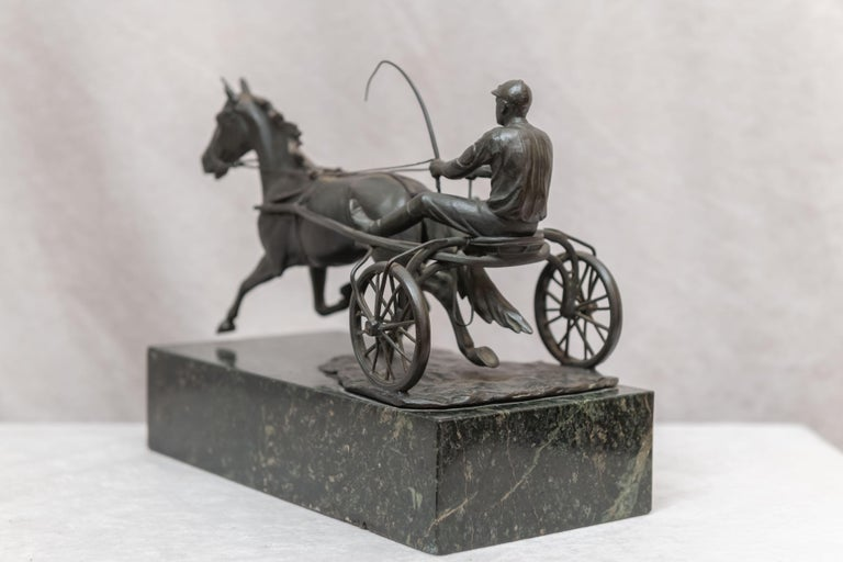 Austrian Bronze Group, Harness Race Driver and Horse, Artist Signed, circa 1920 For Sale 5