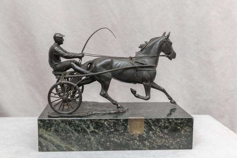 Being bronze dealers for over 40 years we are always on the lookout for horses, because they are beautiful, graceful animals, and people love them. We often get jockeys on horses, but I can't remember one single harness racer and driver that we have