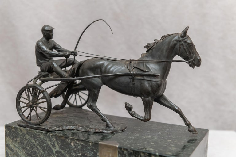 Hand-Crafted Austrian Bronze Group, Harness Race Driver and Horse, Artist Signed, circa 1920 For Sale