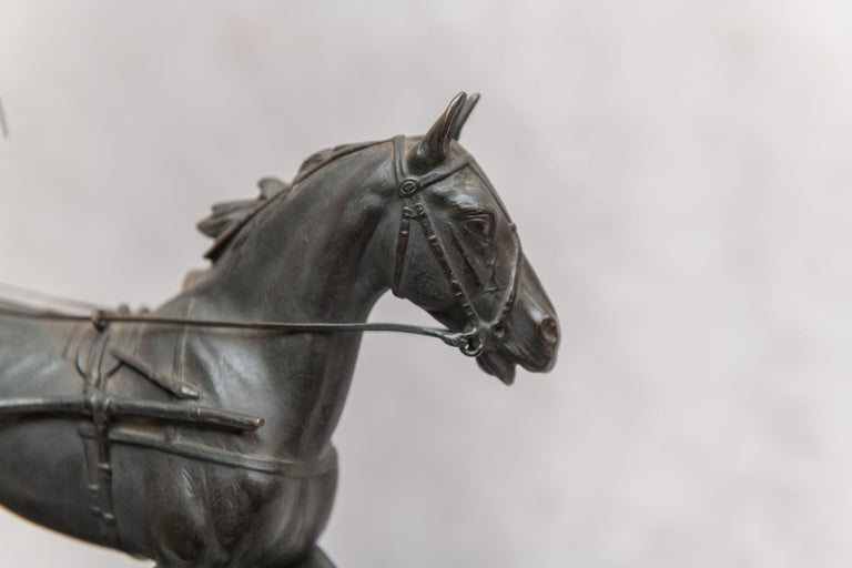 Austrian Bronze Group, Harness Race Driver and Horse, Artist Signed, circa 1920 In Excellent Condition For Sale In Petaluma, CA