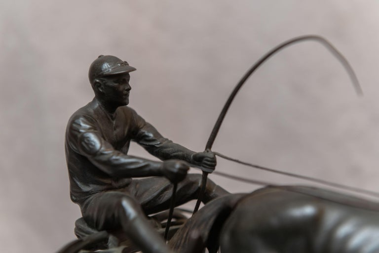 Early 20th Century Austrian Bronze Group, Harness Race Driver and Horse, Artist Signed, circa 1920 For Sale