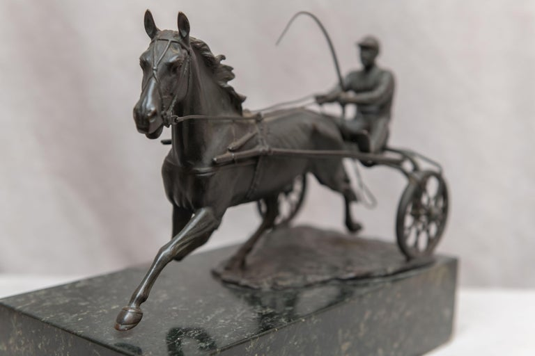 Austrian Bronze Group, Harness Race Driver and Horse, Artist Signed, circa 1920 For Sale 1