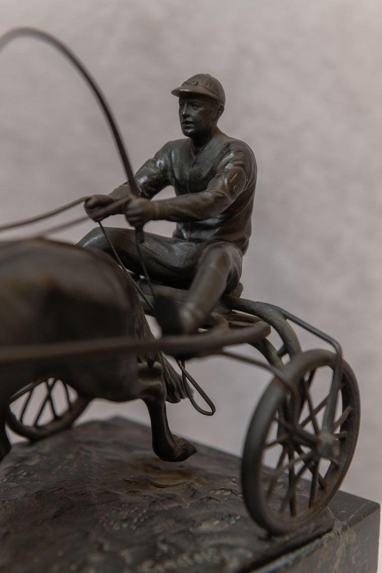 Austrian Bronze Group, Harness Race Driver and Horse, Artist Signed, circa 1920 For Sale 2