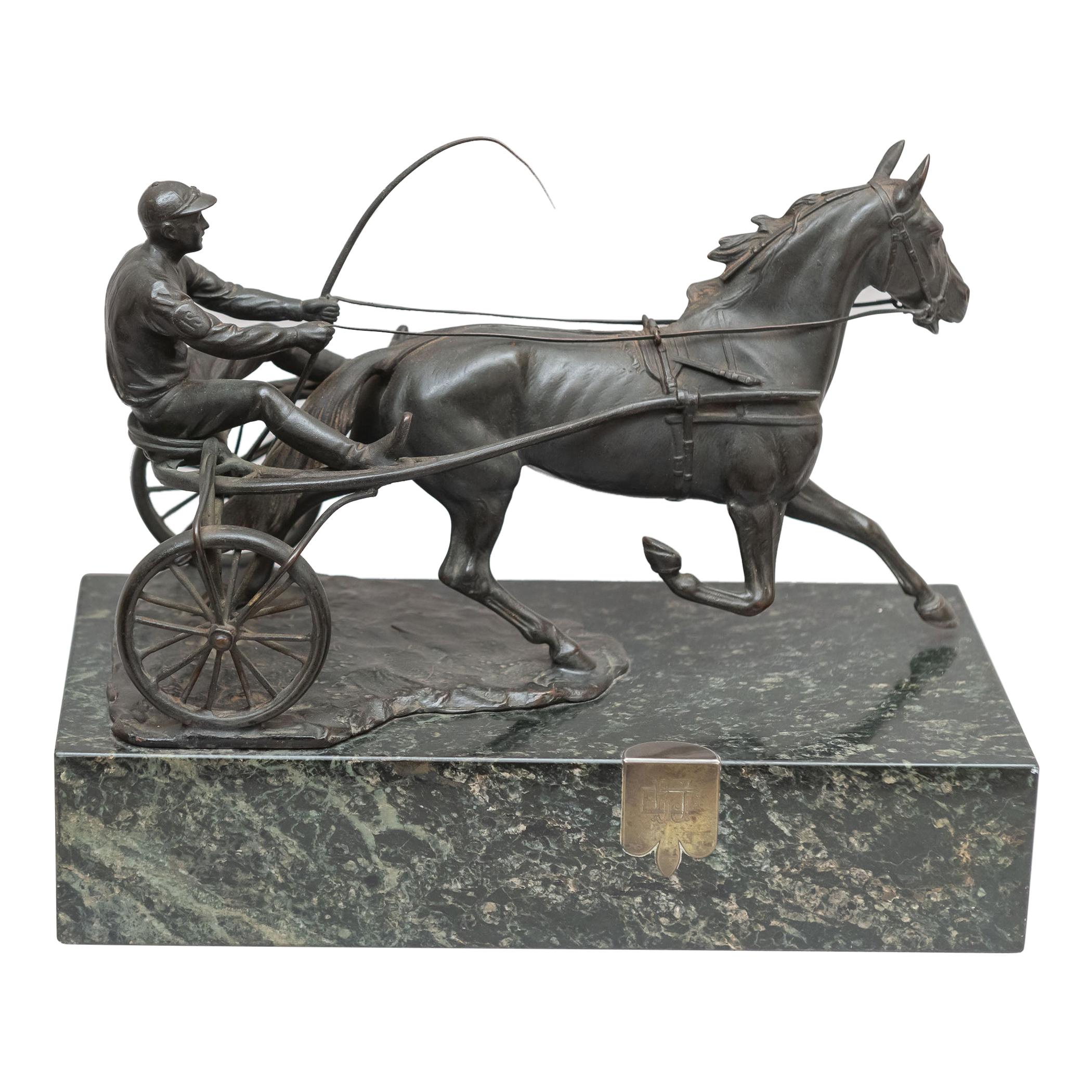 Austrian Bronze Group, Harness Race Driver and Horse, Artist Signed, circa 1920