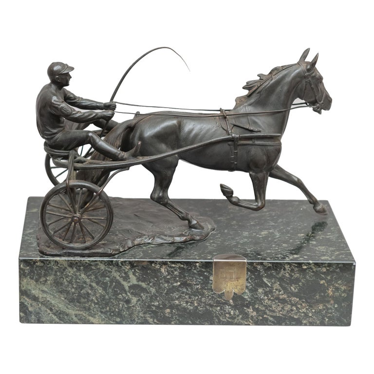 Austrian Bronze Group, Harness Race Driver and Horse, Artist Signed, circa 1920 For Sale