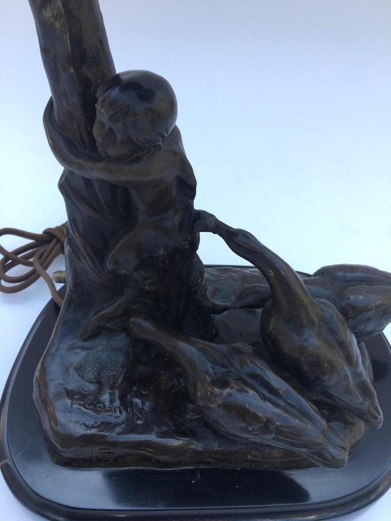 Art Deco Austrian Bronze Lamp Sculpture by Friedrich Gornik For Sale