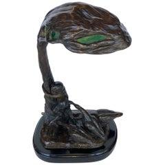 Austrian Bronze Lamp Sculpture by Friedrich Gornik