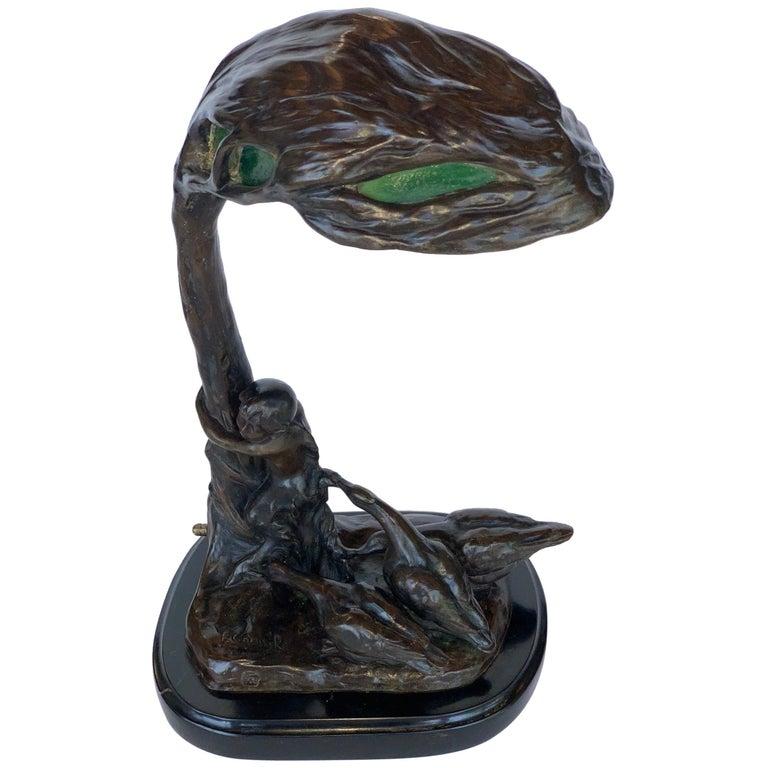 Austrian Bronze Lamp Sculpture by Friedrich Gornik For Sale