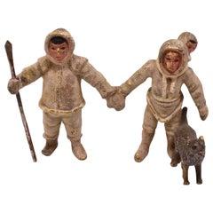 Austrian Bronze Miniature Inuit Family