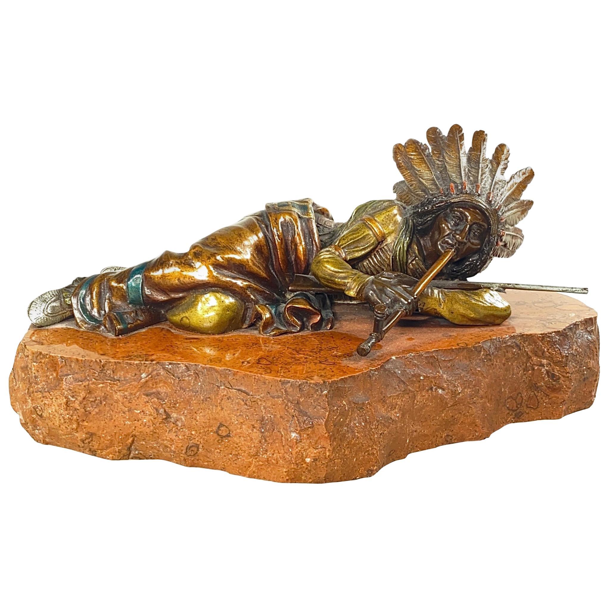 Austrian Bronze of Native American Indian Chief by, Carl Kauba
