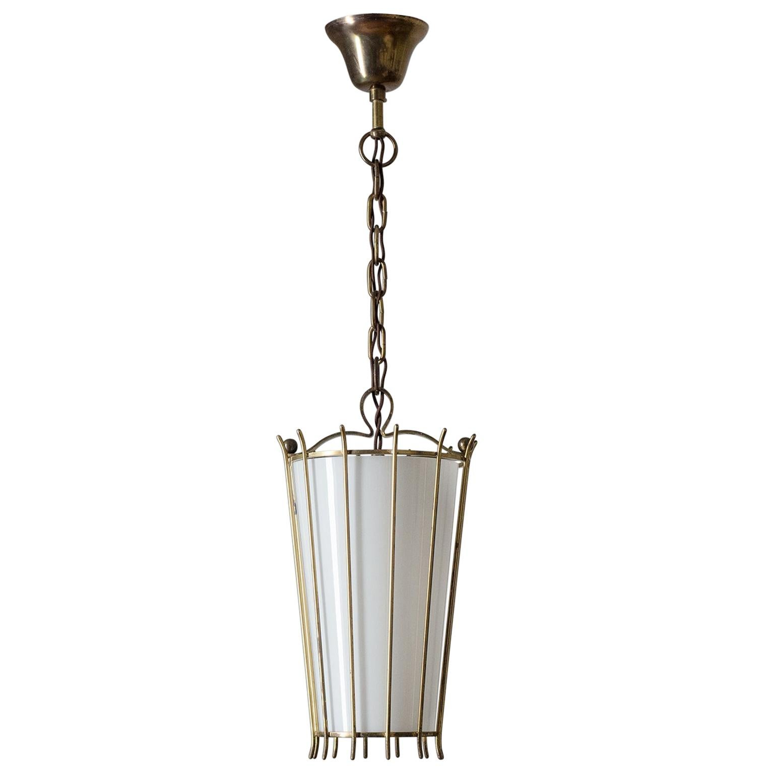 Austrian 'Cage' Lantern, 1940s, Brass and Glass