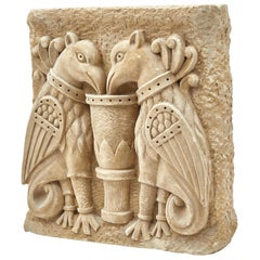 Austrian Carved Stone Relief of Two Winged Gryphons, 19th Century