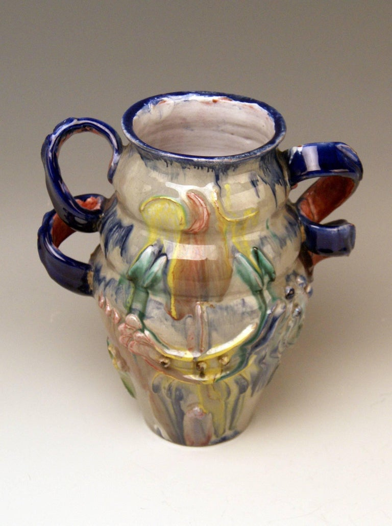 Glazed Austrian Ceramics Vase Expressionist Style by Vally Wieselthier Vienna 1923 For Sale