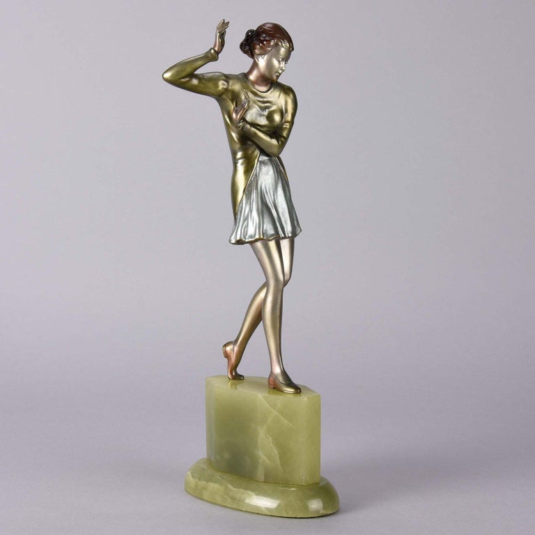 Cold-Painted Austrian Cold Painted Art Deco Bronze Figure