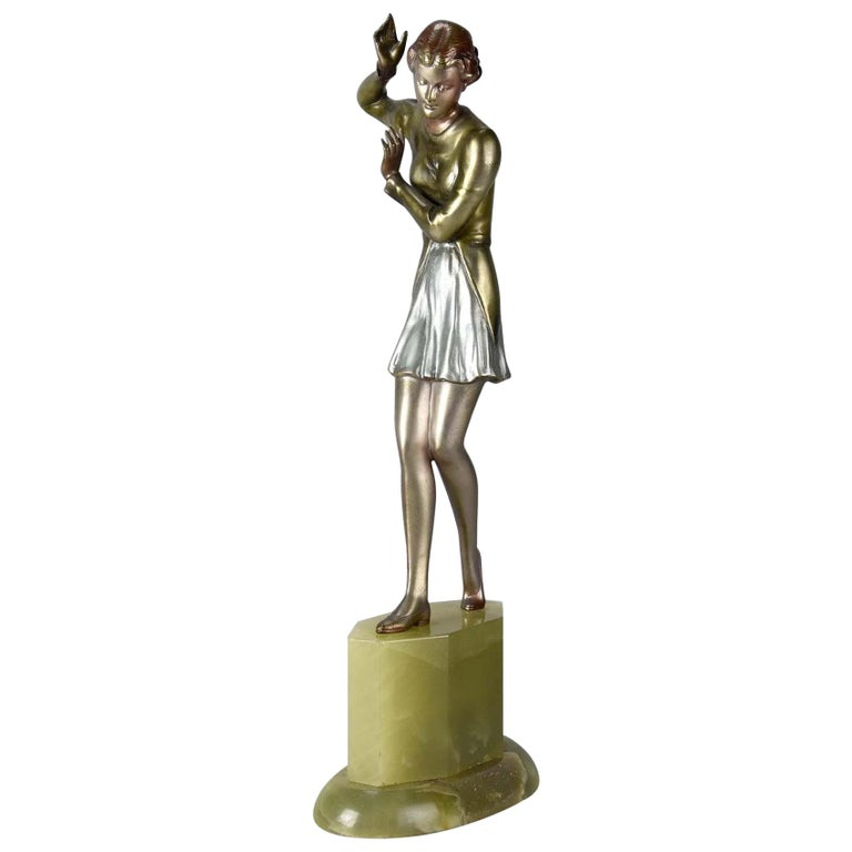 "Austrian Cold Painted Art Deco Bronze Figure ""Bridget"" by Josef Lorenzl For Sale"