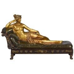 "Austrian Cold Painted Bronze Figure ""Pauline Borghese"" by Franz Bergman"