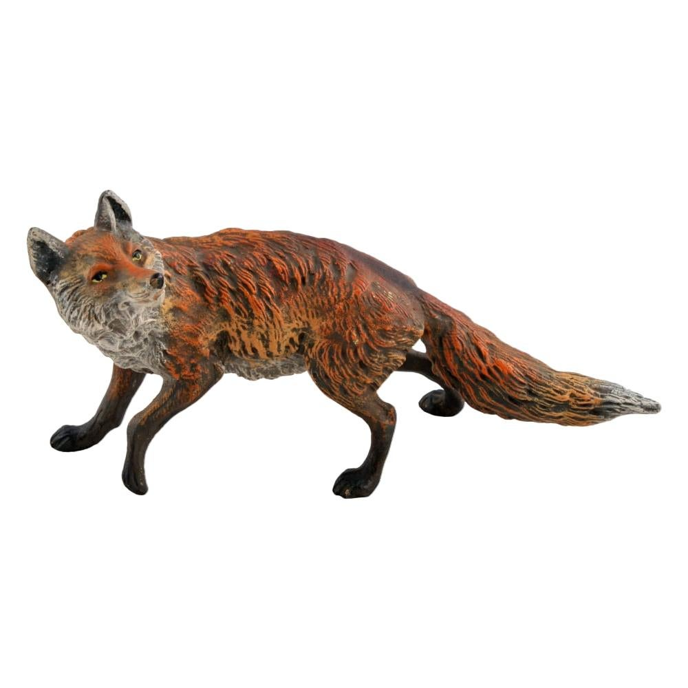 Austrian Cold Painted Bronze Fox, 20th Century