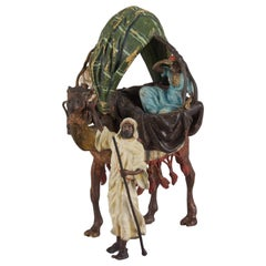 "Austrian Cold Painted Bronze Group ""Arab Camel Ride"" by Franz Bergman"