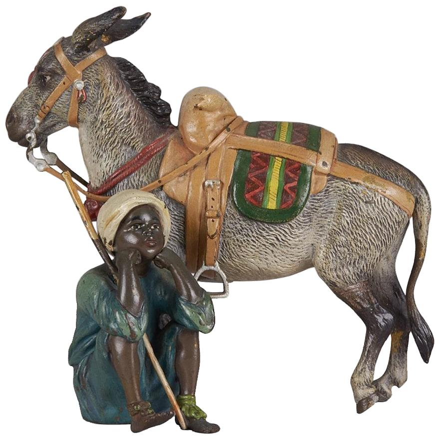 "Austrian Cold Painted Bronze Group ""Boy & Donkey"" by Franz Bergman"