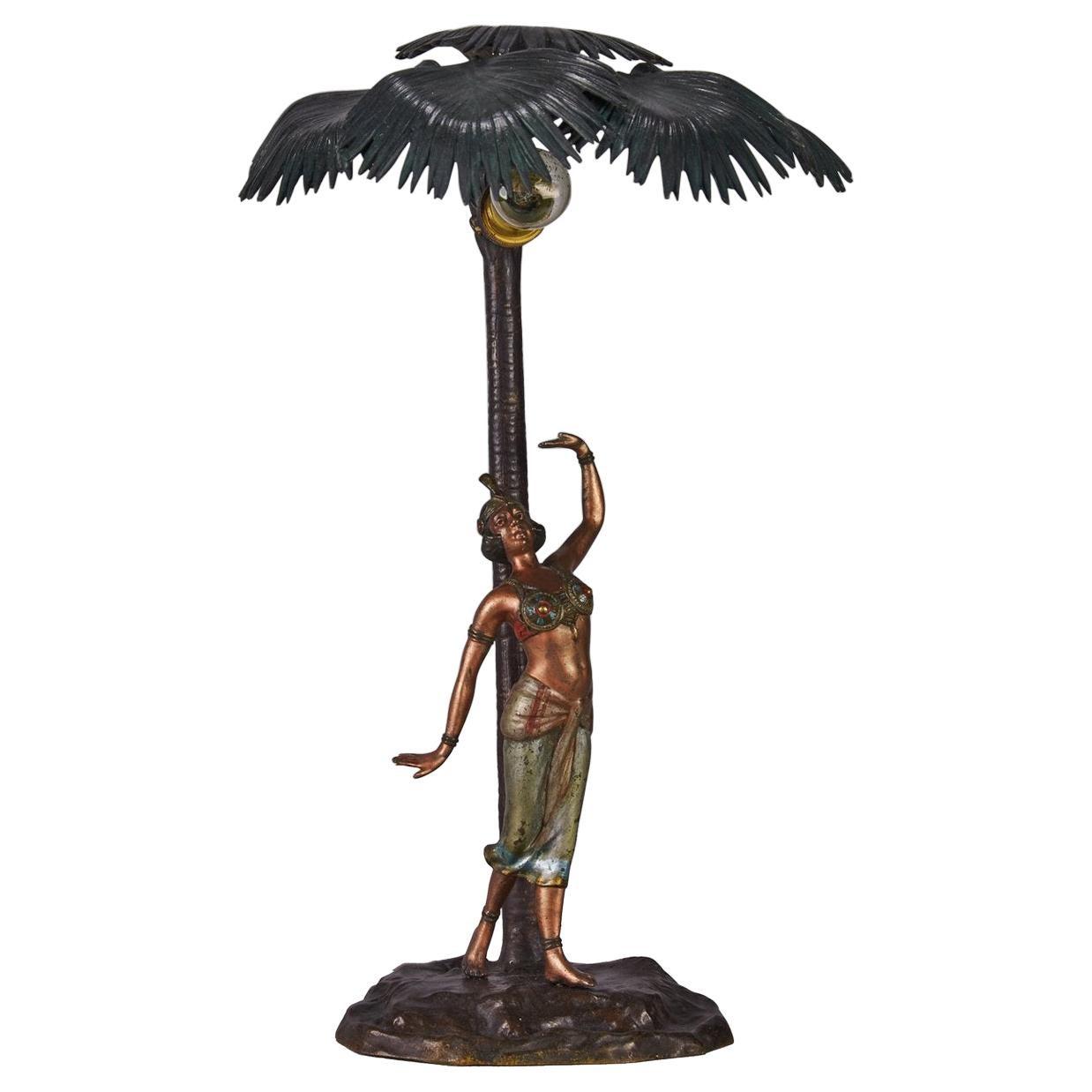 Austrian Cold Painted Bronze Lamp 'Woman Under a Palm Tree' by Franz Bergman